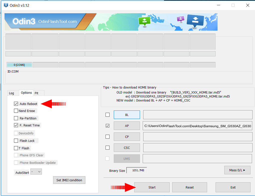 Odin Flash Options - How to Use Odin Flash Tool